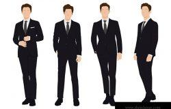 年轻商人、商人、商务人士、穿着工作服的一群人站在白色背景下