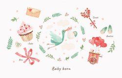 可爱的图片,一只鹳和一个婴儿在一个花架向量分离的对象,祝贺一个新生儿。