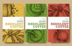 标签包装设计上的咖啡插图。