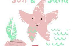 海星宝宝可爱的指纹。可爱的海洋动物。维他命海-文字口号。为托儿所T恤,儿童服装,派对和婴儿淋浴邀请函的海洋动物插图。简单的夏季儿童设计。