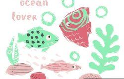 鱼宝宝可爱的指纹。可爱的海洋动物。海洋爱好者-文字口号。为托儿所T恤,儿童服装,派对和婴儿淋浴邀请函的海洋动物插图。简单的夏季儿童设计。
