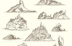 海岛素描矢量集,以复古风格孤立在米黄色背景上。