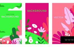 带有文本复制空间的抽象背景向量集-明亮的横幅、海报、封面设计模板、社交媒体故事、春叶和花朵壁纸