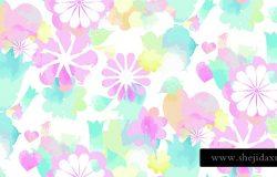 软水彩花卉印花-无缝背景。无尽的图案,粉红色的,蓝色的,黄色的花。矢量时尚插画圣瓦伦丁儿童-婴儿和春天的设计。