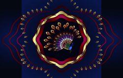 抽象的彩色孔雀图案。用于设计邀请卡、壁纸或制品的载体。迪拜黄金展区。南印度新娘珠宝。