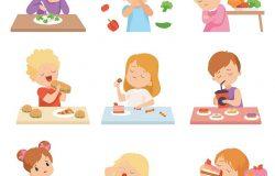 儿童不喜欢蔬菜,孩子们喜欢吃快餐和甜食,矢量插图