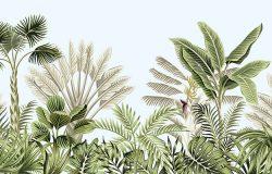 热带复古植物景观,棕榈树,香蕉树,植物,花朵,无边蓝色背景。奇异的绿色丛林壁纸。