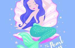 美丽的美人鱼,在紫丁香背景上的贝壳,为t恤或儿童时尚艺术作品,儿童书籍。现代风格的时装插画。可爱的美人鱼。女孩印