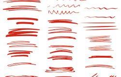素描笔画下划线强调线波浪集。白色背景上孤立的设计元素