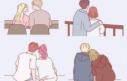 一对坐在一起的夫妇的后视镜集合。手绘风格矢量设计插图。