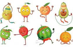 水果人物瑜伽。健康锻炼中的水果构成健康的食物和有趣的运动水果。热带水果运动提出健康的健身运动特征