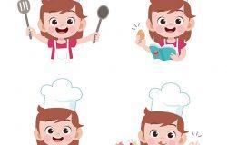 儿童厨师烹饪矢量插图