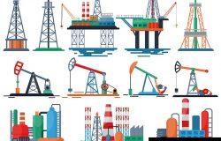 石油工业矢量油品油品生产技术钻井燃油泵图集工业设备起重机白色背景隔离