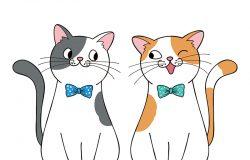 永远是最好的朋友。几只可爱的卡通猫。手绘插图