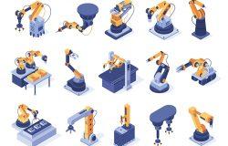 等距机器人手臂。工业工厂机器制造自动化