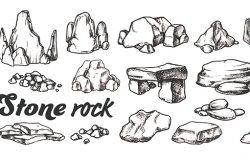 石岩砾石收藏单色集矢量。不同的石砾和鹅卵石。