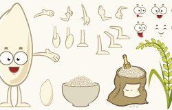 卡通大米字符集。眼睛,手臂,嘴和腿。不同的表达方式。