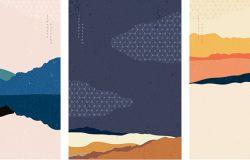 海报设计中的抽象艺术。日本模式矢量的景观背景。