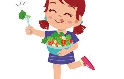 可爱快乐的孩子吃沙拉蔬菜水果