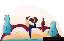 在树林里的公园里做瑜伽的女孩在户外摆体式。平面二维字符网页设计概念