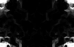 抽象的黑色背景。对称的。几何形状。低聚型
