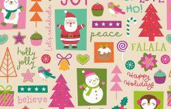 可爱的卡通人物和圣诞元素无缝的图案背景。