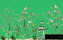 漂亮的异国风情壁纸。手绘陈年中国玫瑰树、棕榈花、柠檬树亭。花无缝边界粉红色背景。