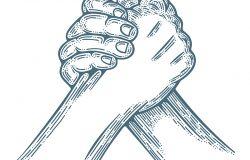 手臂摔跤。手臂摔跤雕刻风格矢量图。是片场的一部分。