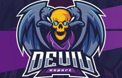 魔鬼头骨吉祥物–带有角和翅膀的esport标志设计