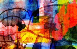 抽象数字绘画彩色涂鸦拼贴