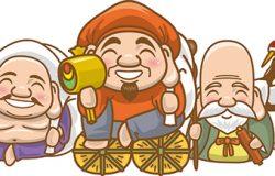 七位幸运之神并排坐在一起的图像插图