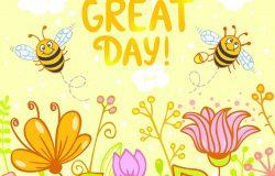 美丽的卡片上有趣可爱的卡通,两只蜜蜂和花。
