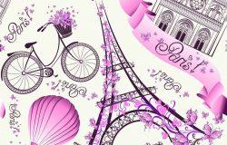 巴黎符号无缝图案。巴黎浪漫之旅。矢量