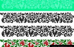 花卉元素向量集。传统的乌克兰装饰品。框架和边框的无缝模式
