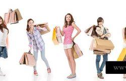 迷人的亚洲女性购物和提包,全长肖像孤立在白色背景上。