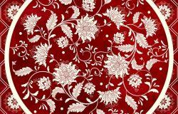矢量背景美丽的中式花圆图案。简单精致的装饰。模仿中国瓷器绘画。红色水彩背景。手绘。