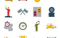 汽车运动大奖赛图标平面设置与球杯头盔孤立向量插图