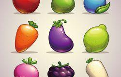 一套卡通水果、浆果和蔬菜
