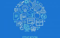 矢量线性标识设计模板-在线教育和流行的大纲风格的大学理念