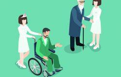 医疗护理护士,医生,医院医护人员,医疗保险单位,三维等距网页概念。穿制服的女性和老人以及轮椅上的病人。创意人物收藏。
