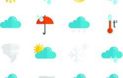 天气预报和气象学符号图标扁平集孤立矢量插图