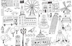 手工绘制的欧洲建筑集