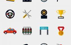 集赛车跑道和赛车旗现代平面图标。秒表、车速表、头盔、杯旗和高速公路。