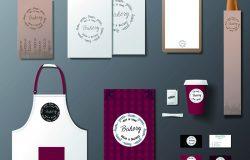 矢量面包店品牌标识模板设计集。取走模拟
