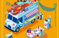 采购产品新鲜海鱼蟹龙虾菜单食品卡车。送货大师。街厨餐厅。三维等距车辆车平图标集。优质爱的另类菜肴烹饪矢量插图