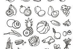 水果和蔬菜健康饮食手绘图标。白色背景下的素食矢量概念