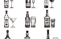 矢量手绘与酒精饮料插图。素描。