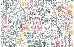 """中国新年/春节的传统象征。装饰品,礼物,食物。卷轴上的象形文字代表""""好运"""",而灯笼上的象形文字代表""""双重幸福""""。"""