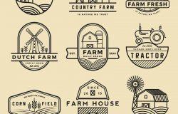 集复古和现代农场徽章和标签的设计。矢量图