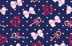 海军钥匙来自情人节心和粉红色缎子弓无缝矢量图案。圆点背景。